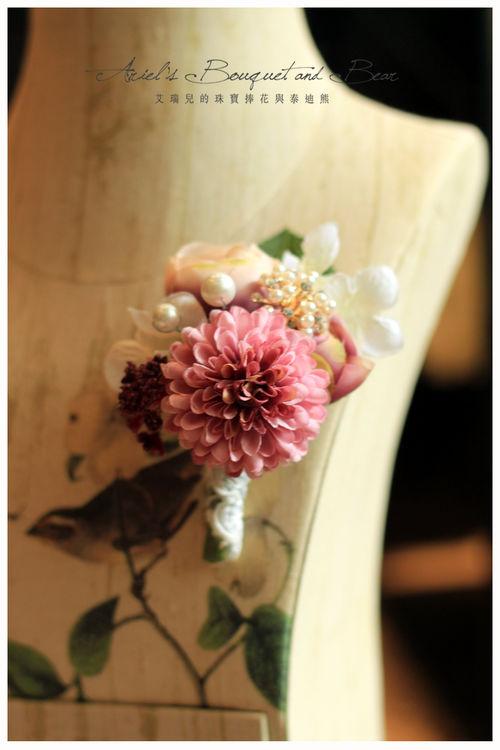 手工胸花 / 可愛小球菊(深粉)