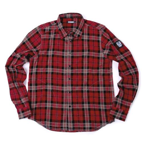 閃購單一價-紅格紋側開帶襯衫-格紋紅