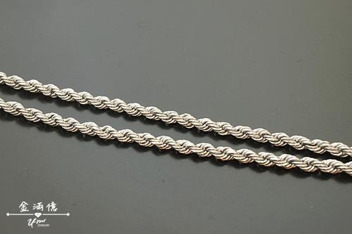 白金(鉑金)項鍊-經典麻花造型男生項鍊
