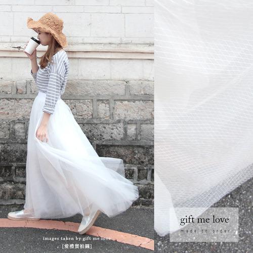 透視紗裙 白色菱格紋 手工刺繡紗裙(TU03)gift me love 愛禮