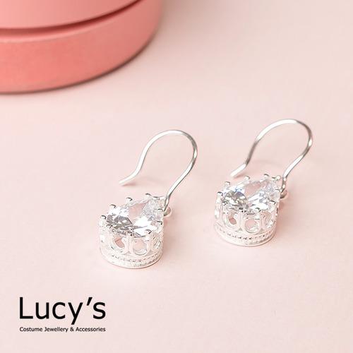 Lucy's 925純銀 輕奢華 璀璨淚鑽耳環