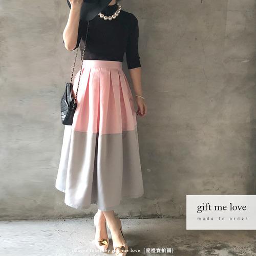 配色款 拼接裙襬(平褶)素色錦緞大圓裙(SA03)gift me love 愛禮