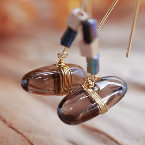 女主角飾品〈濯濯〉天然石茶晶石耳環