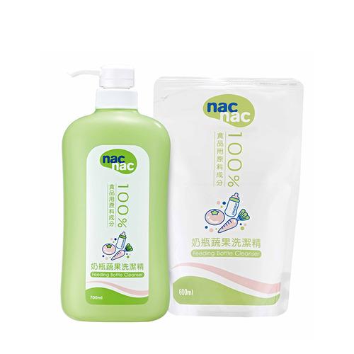 nac nac奶瓶蔬果/奶蔬洗潔精1罐+1補充包| 麗嬰房官網
