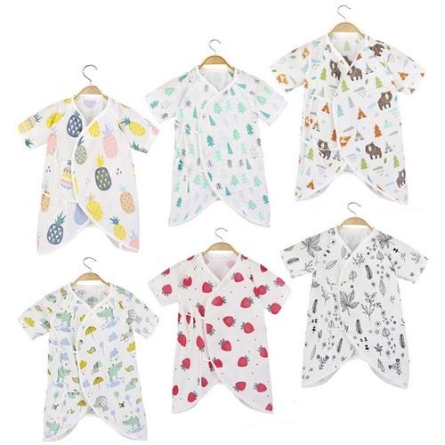 [現貨]嬰兒純棉高密度雙層紗布衣 新生兒綁帶蝴蝶衣
