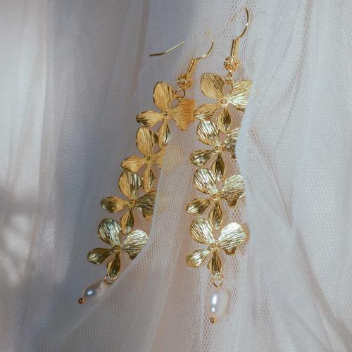 女主角飾品〈柔波〉復古黃銅淡水珍珠紫藤花造型勾式/夾式耳環