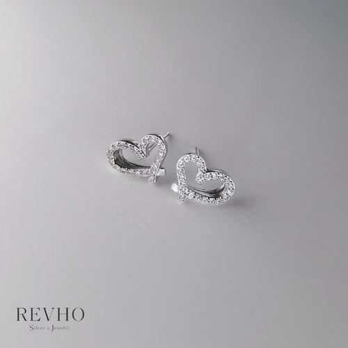 純銀 心形鋯石耳環