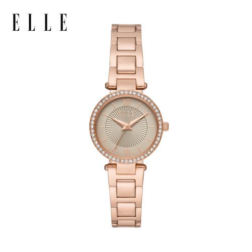 【ELLE】Muette 典雅晶鑽玫瑰金手錶 28mm ELL25014