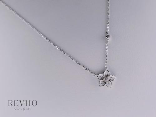 純銀 鋯石花花頸鍊