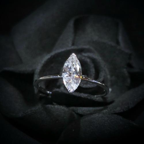 【Peggyhoho】全新18K白金48份馬眼鑽石戒指 |罕有marquise鑽石|簡約小清新 HK11.5號
