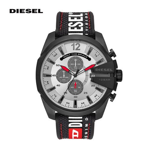 【DIESEL】Mega chief 極大錶面率性軍風計時黑色尼龍手錶 51MM DZ4512
