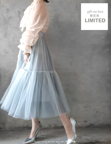 褪色丹寧(灰藍色)限量隱藏版特別色 4層手工拼接紗裙(LT08)gift me love 愛禮訂製時裝店