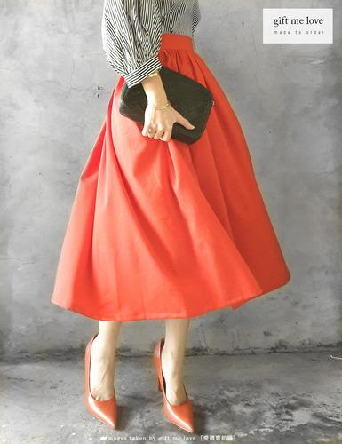 夏日無花果-橘紅色 日常系列 法式風布面 高腰細摺圓裙(AE14-2)gift me love 愛禮訂製時裝店
