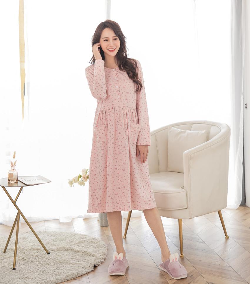 柔粉-玫瑰花娃娃哺乳洋裝(薄款)