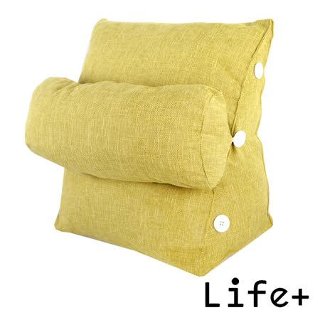 【Life Plus】純色品味 舒壓萬用棉麻靠枕/抱枕/腰靠枕 (淺綠)|2019年最推薦的品牌都在friDay購物