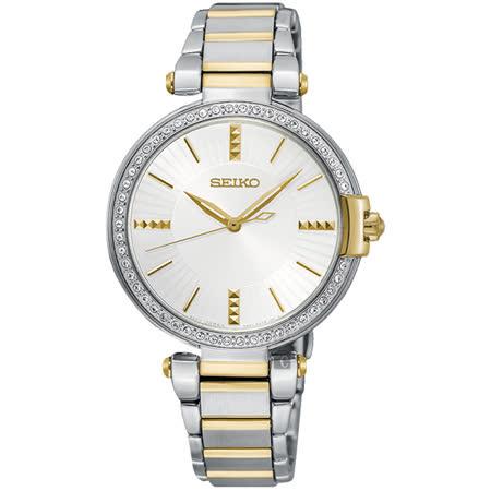 SEIKO精工 CS系列名媛晶鑽女錶-銀x雙色/32mm 7N01-0KH0K(SRZ516P1)|2019年最推薦的品牌都在friDay購物