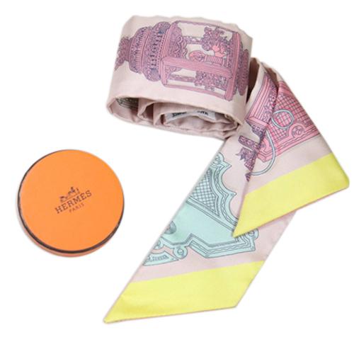 HERMES 絢麗燈籠圖案 Twilly絲巾 米粉紅色 全新品 2020年最推薦的品牌都在friDay購物