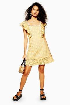Yellow Broderie Mini Dress