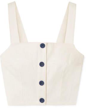 STAUD Cita cropped linen-blend top