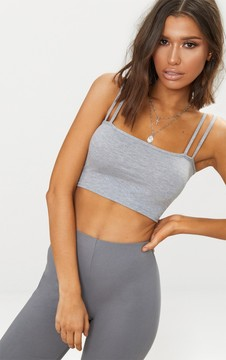 Grey Jersey Double Strap Crop Top