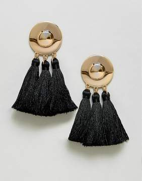 Asos Metal Disc Tassel Earrings