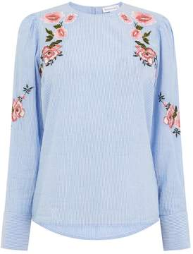 Warehouse Embroidered Puff Sleeve Top