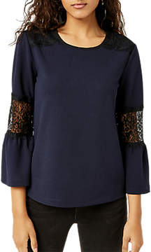 Warehouse Lace Insert Crepe Top, Navy