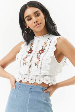 Linen-Blend Floral Embroidered Lace-Trim Crop Top