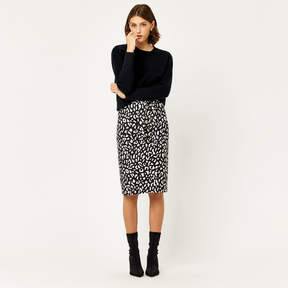 Animal Print Crepe Skirt