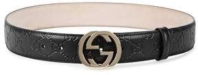 Gucci GG Monogrammed Leather Belt