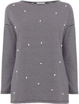 Warehouse Pearl Embellished Stripe Top
