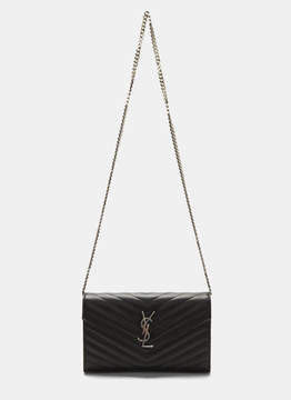 Saint Laurent Women's YSL Monogrammed Wallet Bag in Black