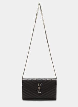 Saint Laurent Women's YSL Monogrammed Wallet Bag in Black