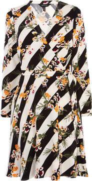 Karen Millen striped floral wrap dress
