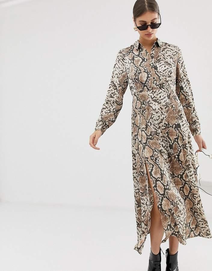 Pieces snake print maxi dress