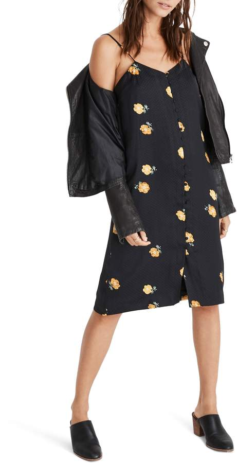 Madewell Floating Florets Button Front Slipdress