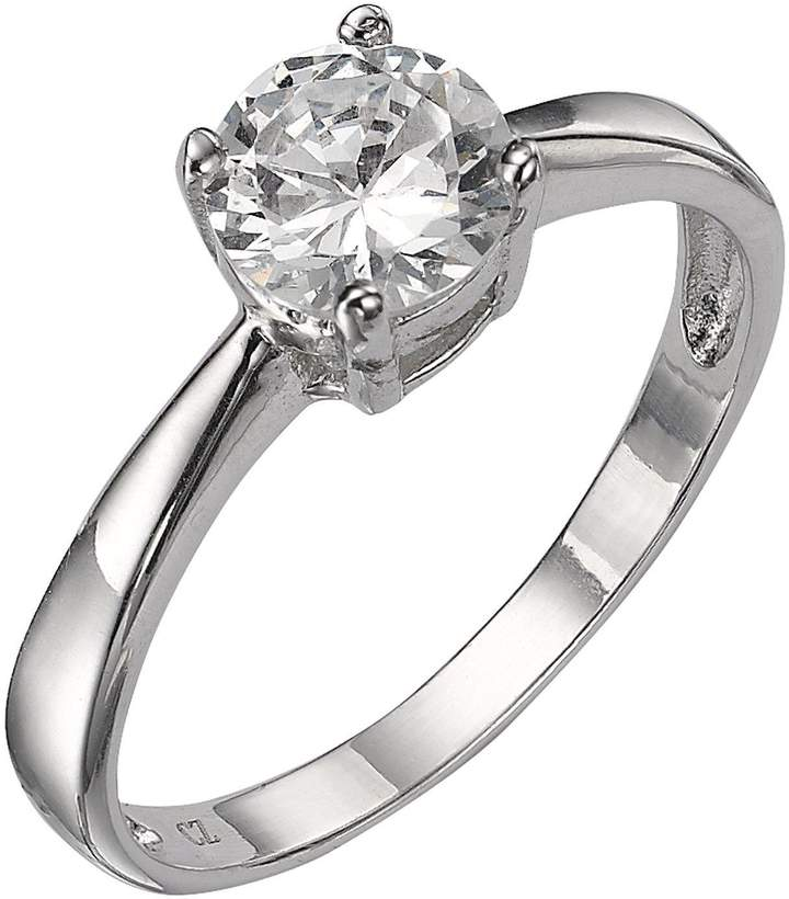 The Love Silver Collection Sterling Silver White Cubic Zirconia Solitaire Dress Ring