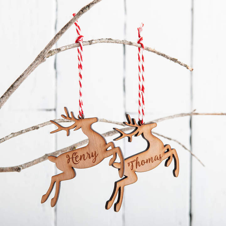 Funky Laser Personalised Cherry Wooden Reindeer Christmas Bauble