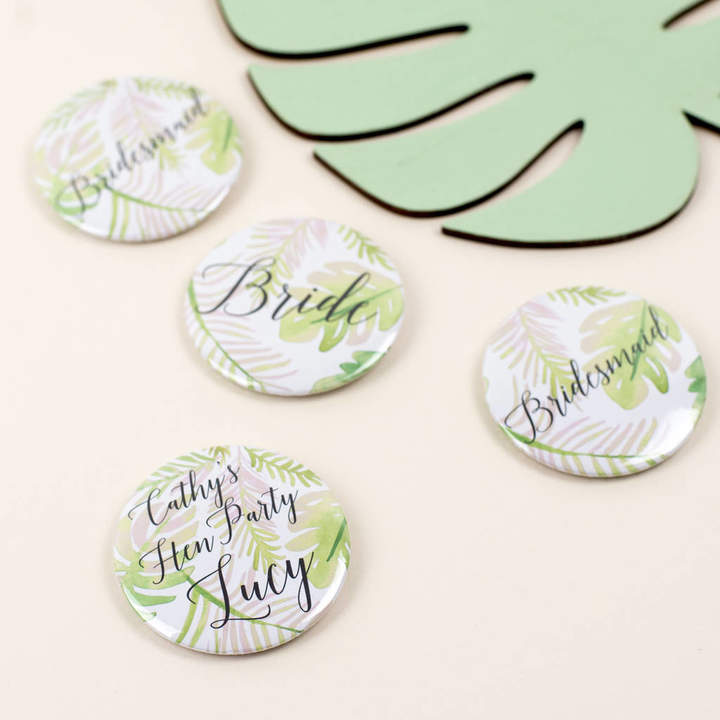 Oh Squirrel Personalised Botanical Leaf Print Hen Party Badge