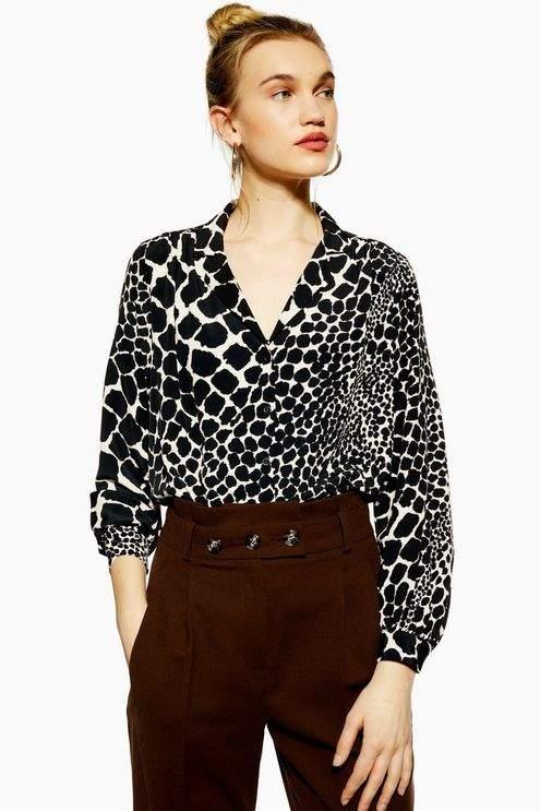 Topshop Womens Giraffe Print Shirt