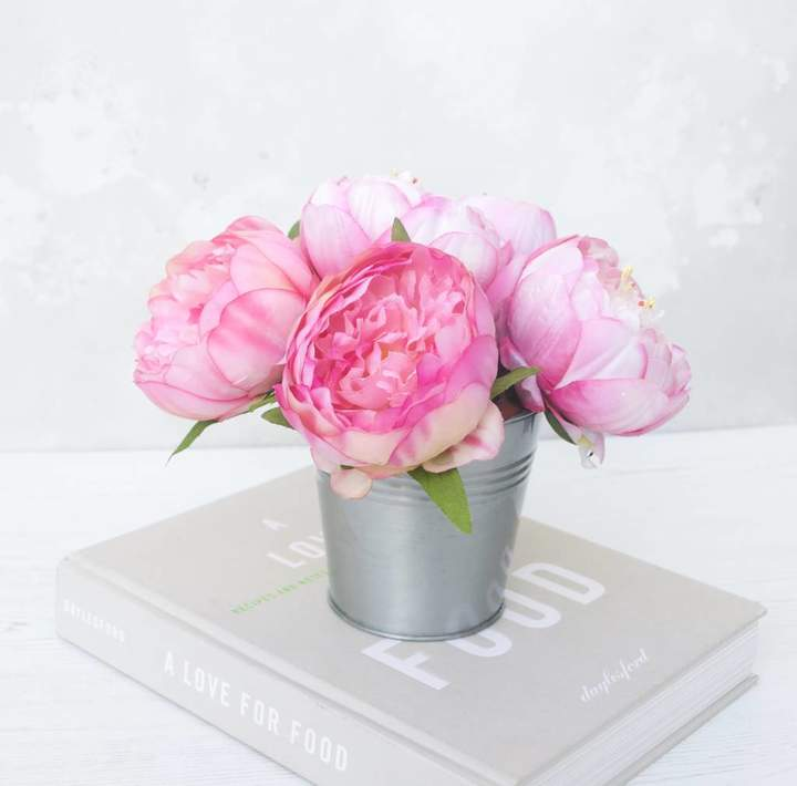 Abigail Bryans Designs Bouquet Of Peonys In Metal Vase