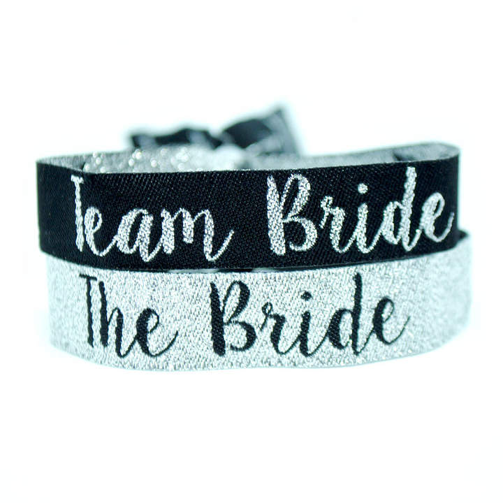 WEDFEST Team Bride Silver And Black Hen Party Wristbands