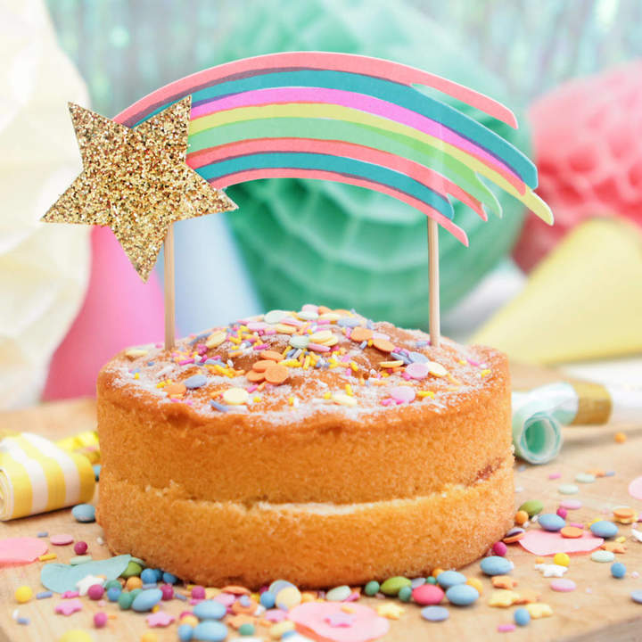 Postbox Party Rainbow Gold Shooting Star Cake Topper