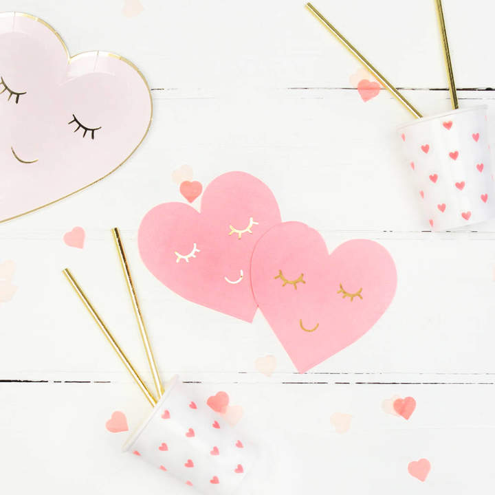 Postbox Party Pink Blushing Heart Face Napkins