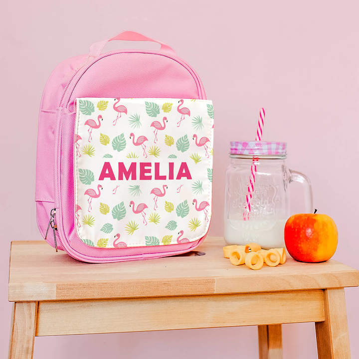 The Little Picture Company Personalised Lunch Bag With Tropical Flamingo Design