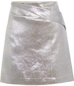 Halston Heritage Pleated Lamé Mini Skirt