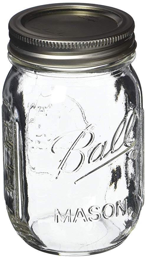 Ball Pint Mason Jar, Regular Mouth, 16 oz