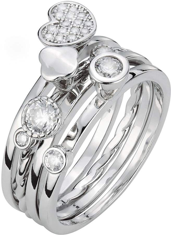 The Love Silver Collection Sterling Silver White Cubic Zirconia Set of 4 Stackable Rings