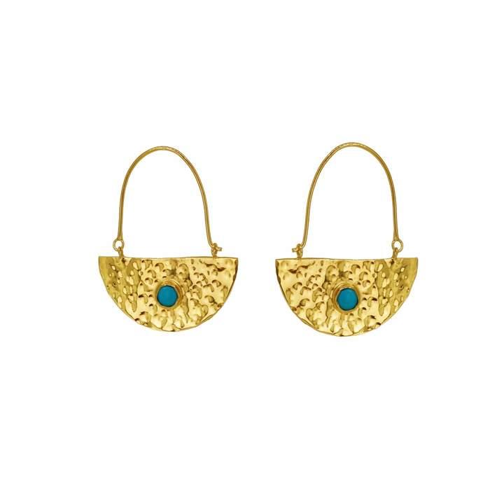 Yvonne Henderson Jewellery - Gold Semi Circle Boho Drop Earrings with Turquoise
