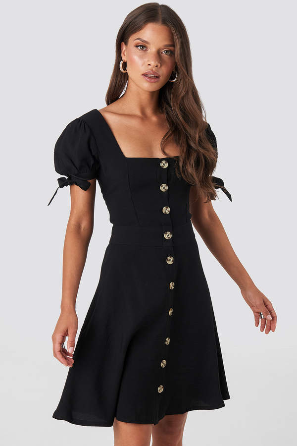 Front Button Knot Detailed Dress